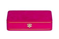 Pink velvet box isolated. On white background Stock Photography