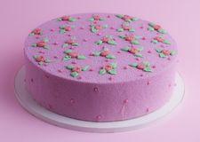 Pink velvet cake with roses and leaves. On a pink background Royalty Free Stock Photography