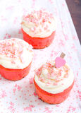 Pink velvet cakes. With cream topping Stock Image