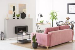 Pink velvet couch standing in real photo of Scandinavian style l. Iving room interior with fresh plants, fireplace and table with flowers and breakfast stock image