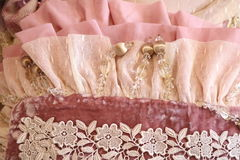 Pink velvet with embroidery Stock Photos