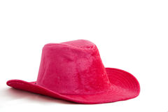 Pink velvet hat. Pink velvet cowboy hat isolated on white background stock images