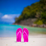 Pink vibrant beach flip flops on white sand on sea Royalty Free Stock Images