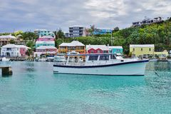 The pink village of Flatts in Bermuda Royalty Free Stock Photo