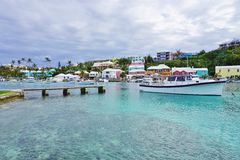 The pink village of Flatts in Bermuda Stock Image