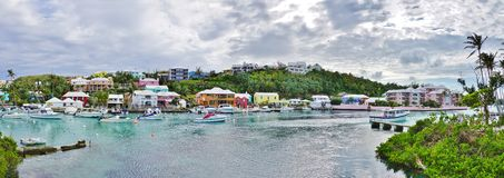 The pink village of Flatts in Bermuda Stock Images