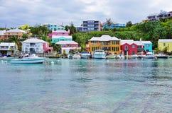 The pink village of Flatts in Bermuda Stock Photo