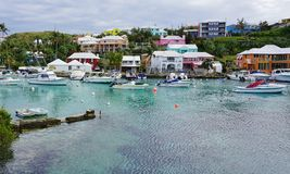 The pink village of Flatts in Bermuda Royalty Free Stock Image