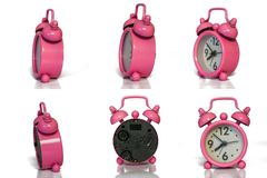 Pink Vintage Alarm Clock - Minimal Design - Different Angles/ Si royalty free stock photos