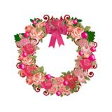 Pink Vintage All Purpose Floral Wreath Royalty Free Stock Photography