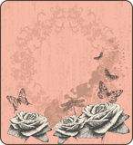 Pink vintage background with decorative butterflie Royalty Free Stock Image