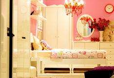 Pink vintage bedroom interior design Stock Photo