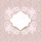 Retro card with seamless floral ornament Stock Photo