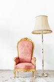 Pink Vintage Chair with lamp Stock Photography