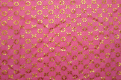 Pink vintage cloth. With golden pattern Royalty Free Stock Images