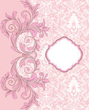 Pink vintage damask invitation card Stock Photo
