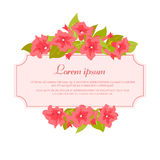 Pink vintage flowers around the frame with sign for wedding invitation, marriage card, congratulation banner, advertise Royalty Free Stock Photos