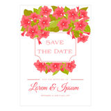 Pink vintage flowers around the frame with sign for wedding invitation, marriage card, congratulation banner, advertise Royalty Free Stock Photo