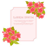 Pink vintage flowers around the frame with sign for wedding invitation, marriage card, congratulation banner, advertise Stock Image