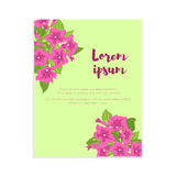 Pink vintage flowers in frame with sign for wedding invitation, marriage card, congratulation banner, advertise Stock Images