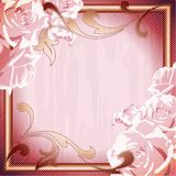 Pink vintage grungy frame with roses Stock Photo