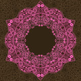 Pink Vintage Ornament Round Lace Frame Royalty Free Stock Photography