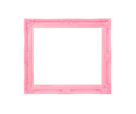 Pink Vintage picture frame on blue wood background Stock Image
