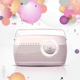 Pink vintage radio on retro background Stock Photos