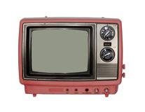 Pink vintage TV. Isolated on white Stock Photography