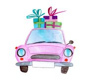 Pink vintage watercolor car with gifts royalty free stock photo