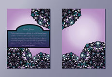 Pink and violet brochures or flyers or invitations. Nice hand-drawn illustration Stock Photo