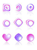 Pink and violet colors logos set. Stock Images