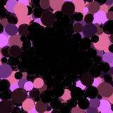 Pink and violet glowing balls on black background 3d rendering Royalty Free Stock Photos