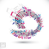 Pink and violet music background with clef and notes. Stock Image