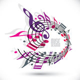 Pink and violet music background with clef and notes. Royalty Free Stock Photo