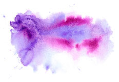 Pink and violet watery spreading illustration. Abstract watercolor hand drawn image.Purple splash.White background Royalty Free Stock Photos