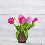 Tulips bouquet in vase Royalty Free Stock Photography