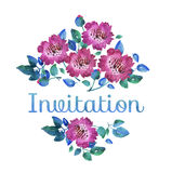 Pink vivid abstract flowers. hand drawn illustration. Stock Photo