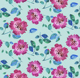 Pink vivid abstract flowers seamless pattern. Stock Image