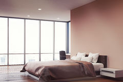 Pink wall bedroom, side Royalty Free Stock Photography