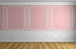 Pink wall in classic style empty room architectural background Stock Images