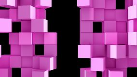 Pink Wall of cubes divide. Pink Wall of cubes is divided into separate blocks and moves apart in opposite directions. Abstract transition, 3D animated intro stock illustration