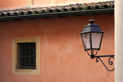 Pink wall and a street lamp Royalty Free Stock Photo