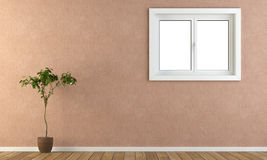 Pink wall with window and plant. Interior pink wall with a window vector illustration