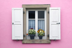 Pink wall with window with shutters and flower pots Royalty Free Stock Photo
