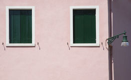 Pink Wall with Windows. Burano, Venice, Italy, Europe Stock Photography