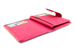 Pink wallet with cards. Wallet with different range of credit cards Royalty Free Stock Photos