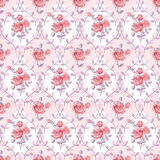 Pink wallpaper with blooming roses Royalty Free Stock Photography
