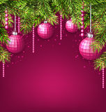 Pink Wallpaper with Fir Twigs and Glassy Balls Stock Photo