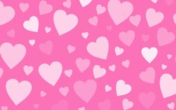 Pink wallpaper with white hearts Stock Photo